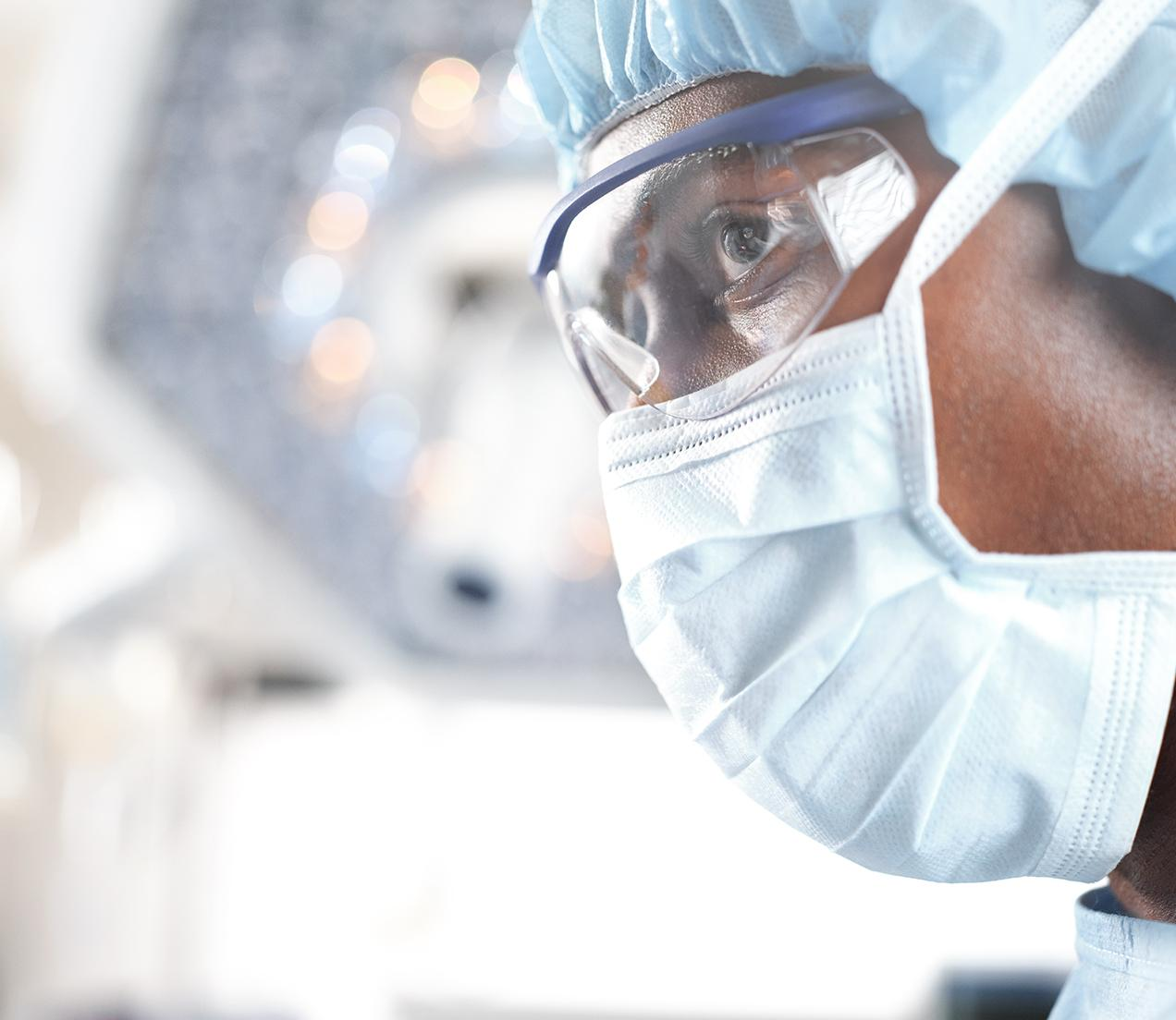 close-up image of surgeon in an operating room
