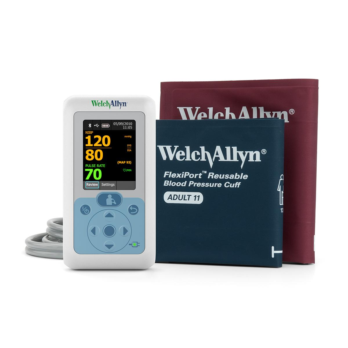 Connex® ProBP™ 3400 Digital Blood Pressure Device and two FlexiPort™ Blood Pressure Cuffs, straight on view from table top, front of products