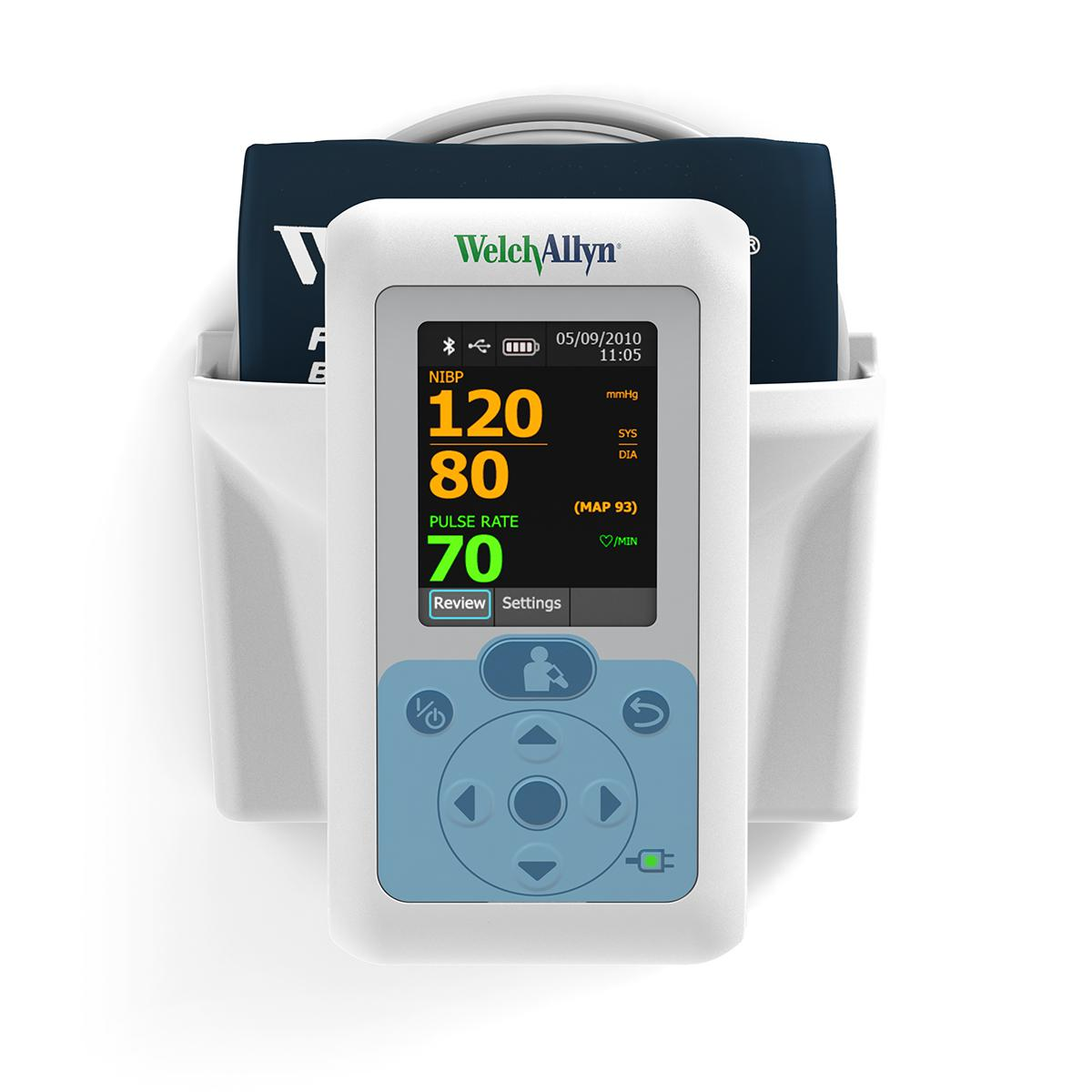 Connex® ProBP™ 3400 Digital Blood Pressure Device straight on view in Wall-Mount Adapter with Basket