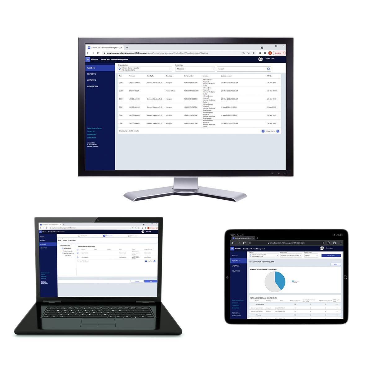 SmartCare™ Remote Management software is displayed on multiple devices — a laptop, desktop computer and tablet.