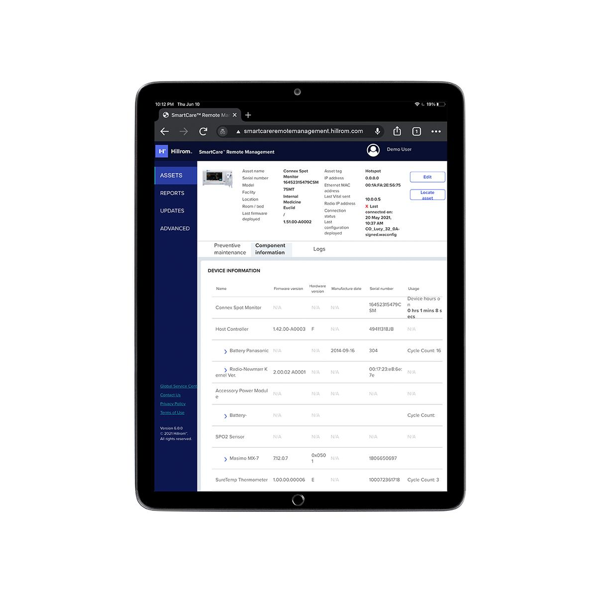 SmartCare™ Remote Management component information is displayed on a tablet.
