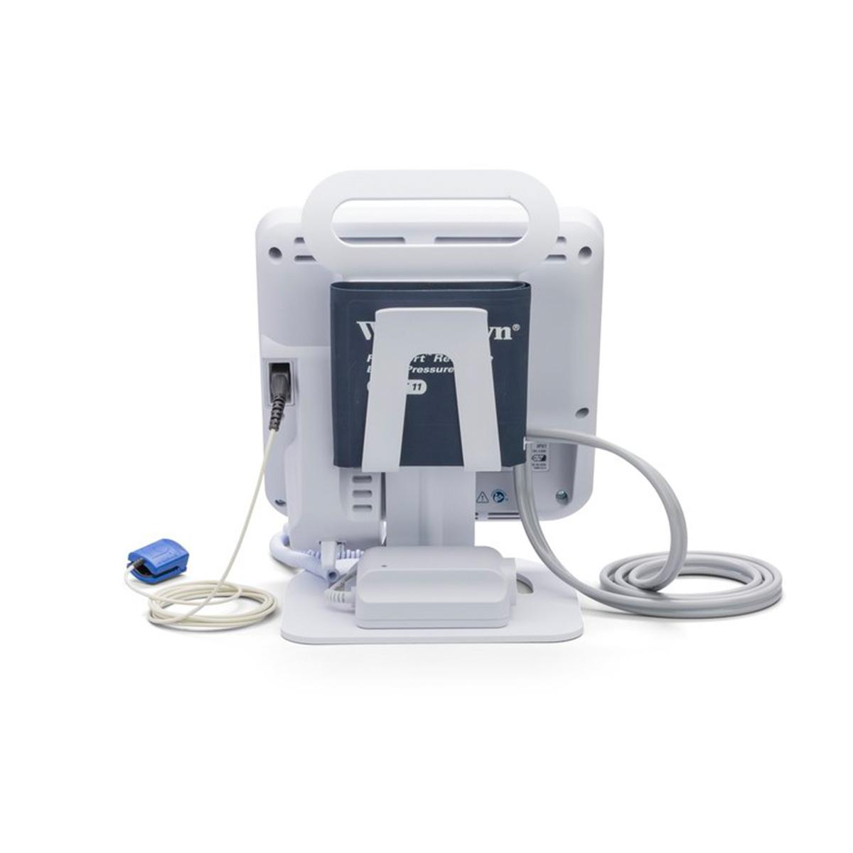 This back view of the Spot Vital Signs® 4400 Device shows the pulse oximeter connection port and blood pressure cuff holder built into the desktop stand.
