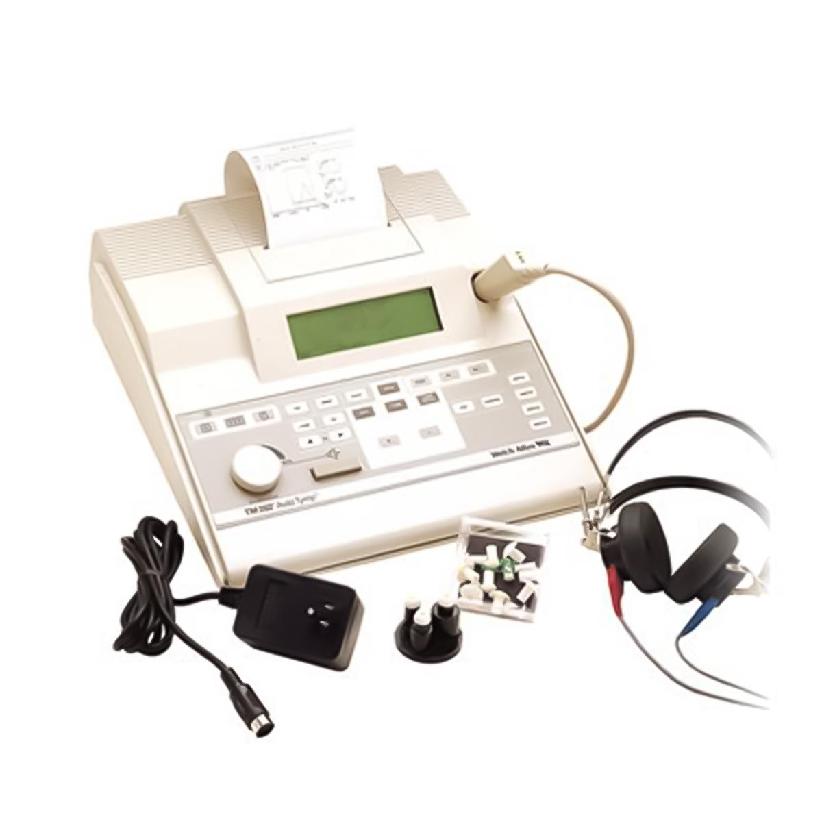 A white, tabletop Welch Allyn TM 262 AutoTymp Tympanometer with black over-the-ear headphones and a detachable power source.