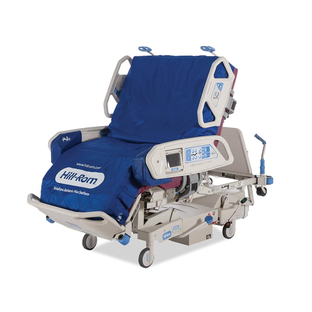 TotalCare Bariatric Plus Hospital Bed, 3/4 view, in chair position with side rails up