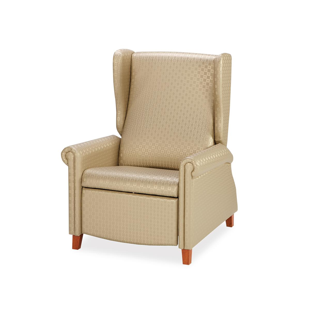Art of Care Traditional Recliner, tan material, 3/4 view