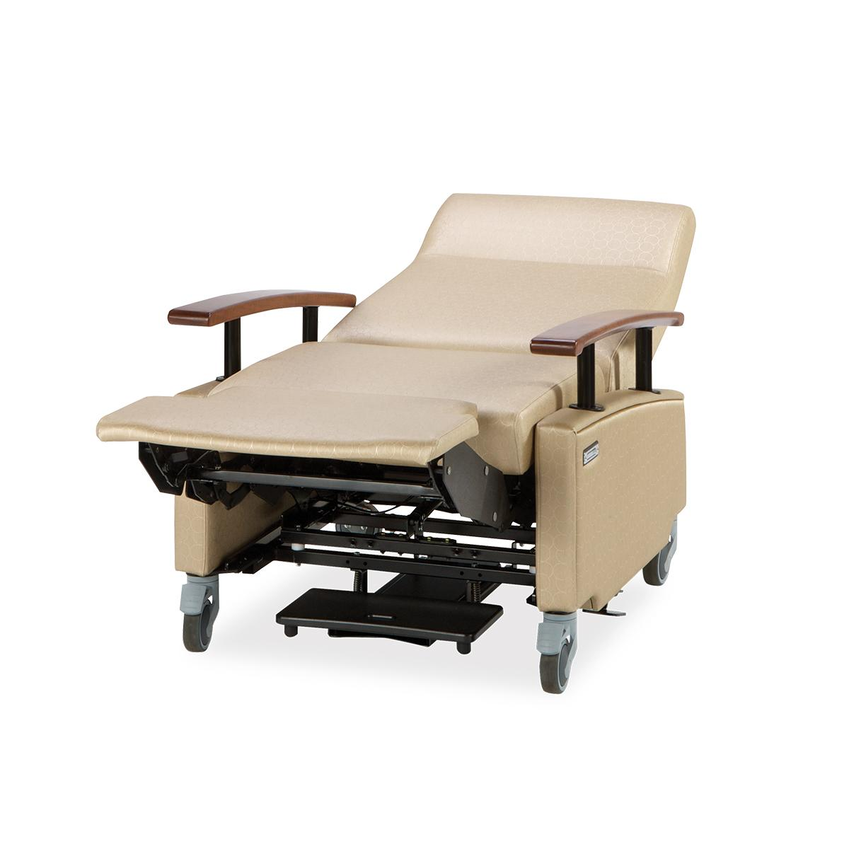 Art of Care Lay Flat Recliner, beige, in reclined position