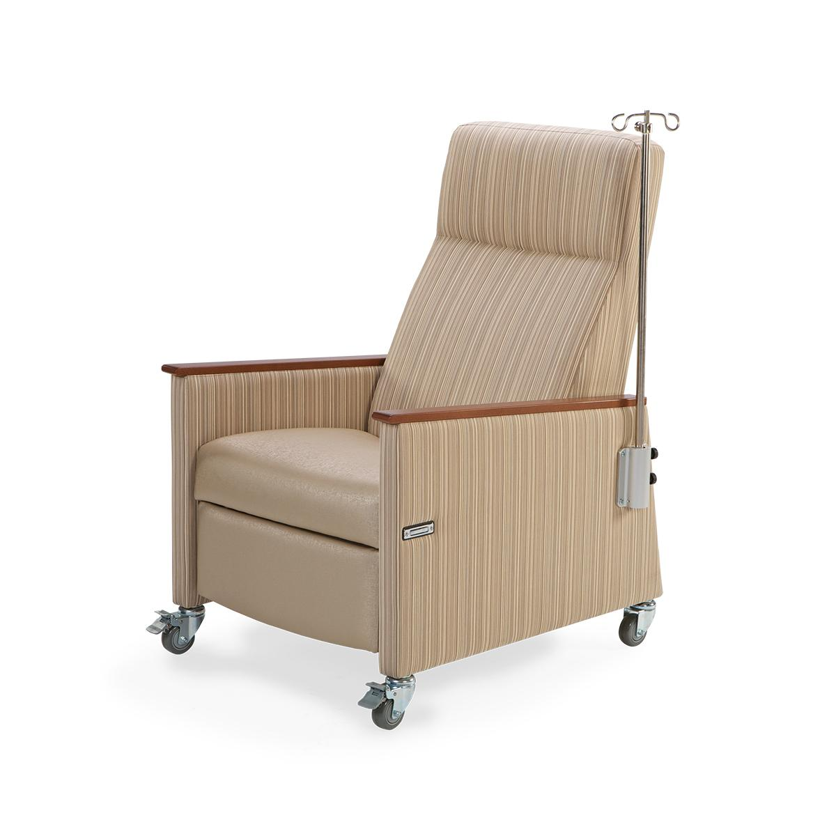 Art of Care Two Position Recliner, brown with striated pattern fabric, 3/4 view