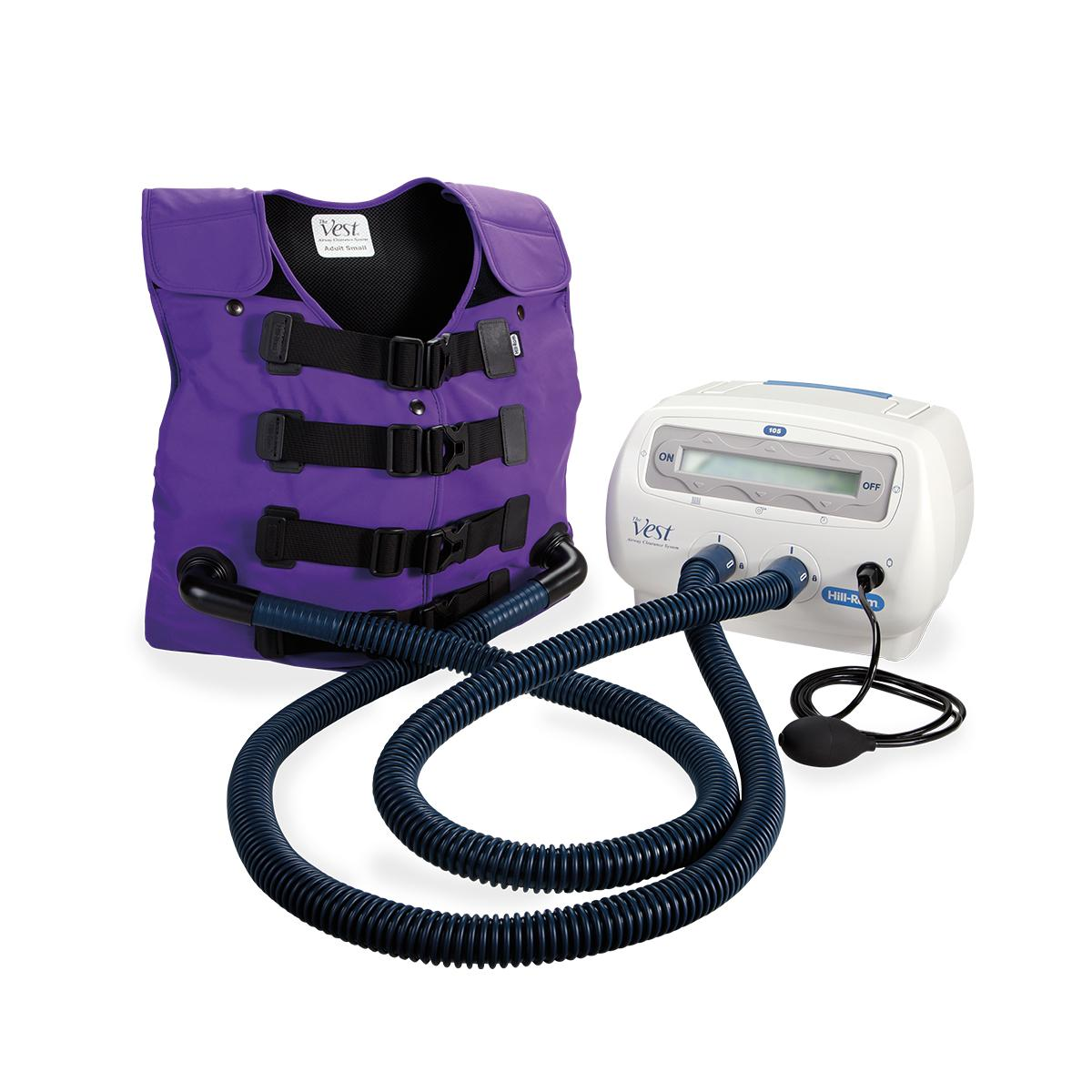 The Vest, Model 105, is shown in purple, connected with air hoses to the control unit