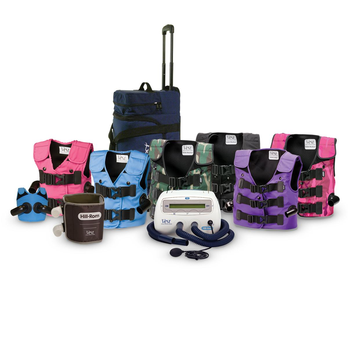 The Vest System, Model 105, collage of vests in different styles and colors, with control unit and bag