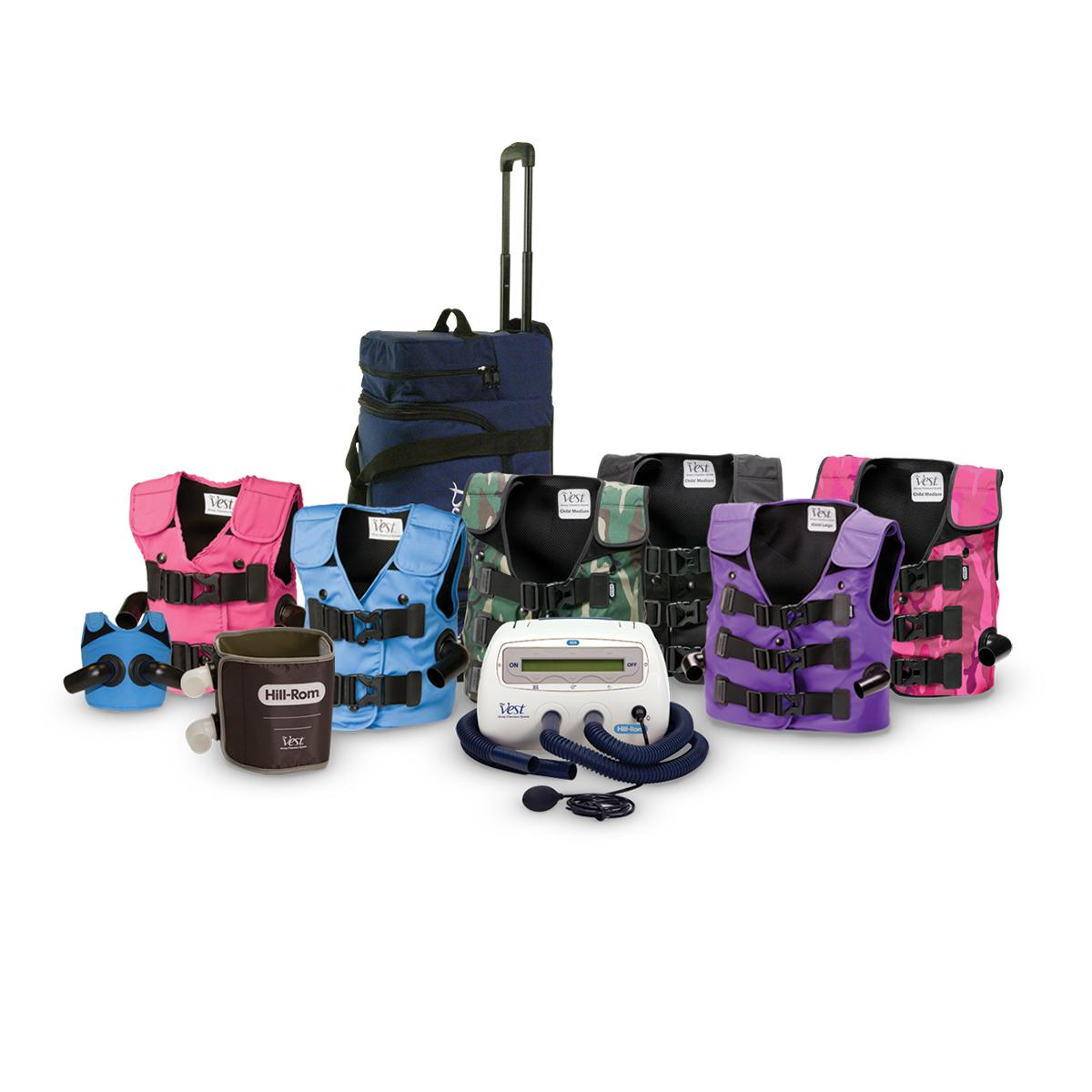 Group shot of vests in a variety of colors with a wrap garment, control unit, air hoses and bag