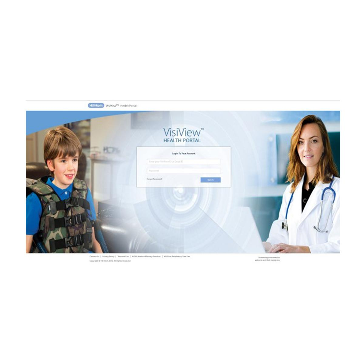 Illustration of how data moves from the VisiVest system to a data hub to a Hillrom secure server to the VisiView health portal