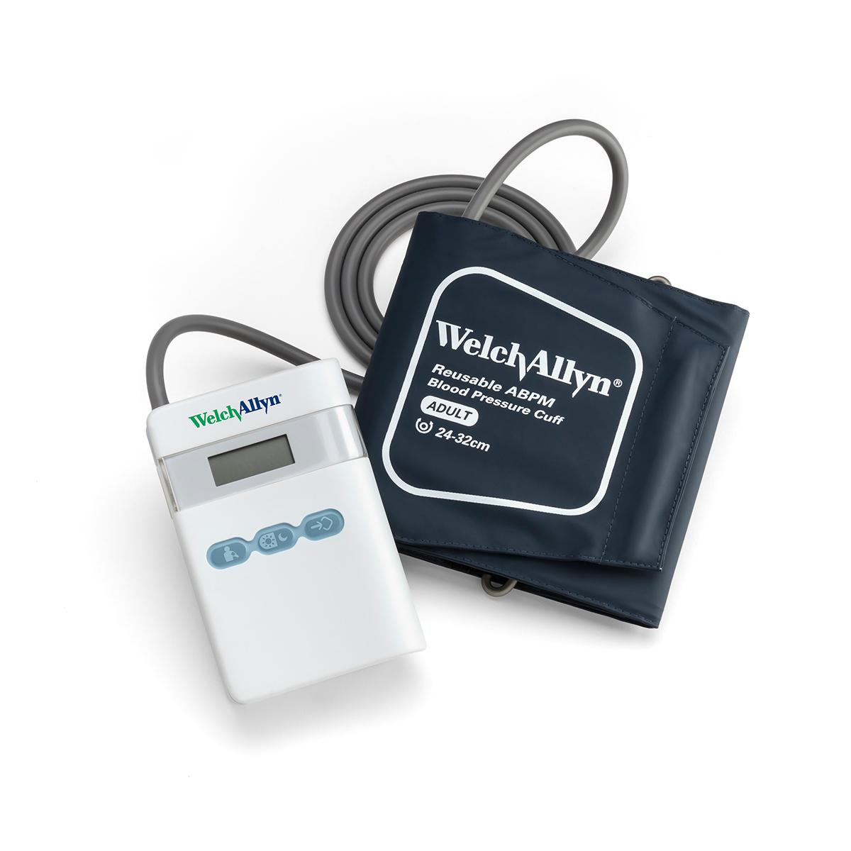 ABPM 7100 Ambulatory Blood Pressure Monitor and cuff on white background, overhead shot