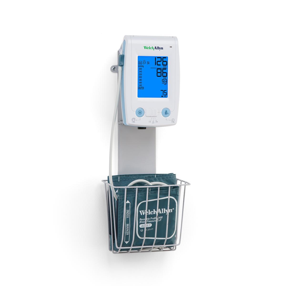 Tensiomètre numérique ProBP2400 fixé au mur avec brassard