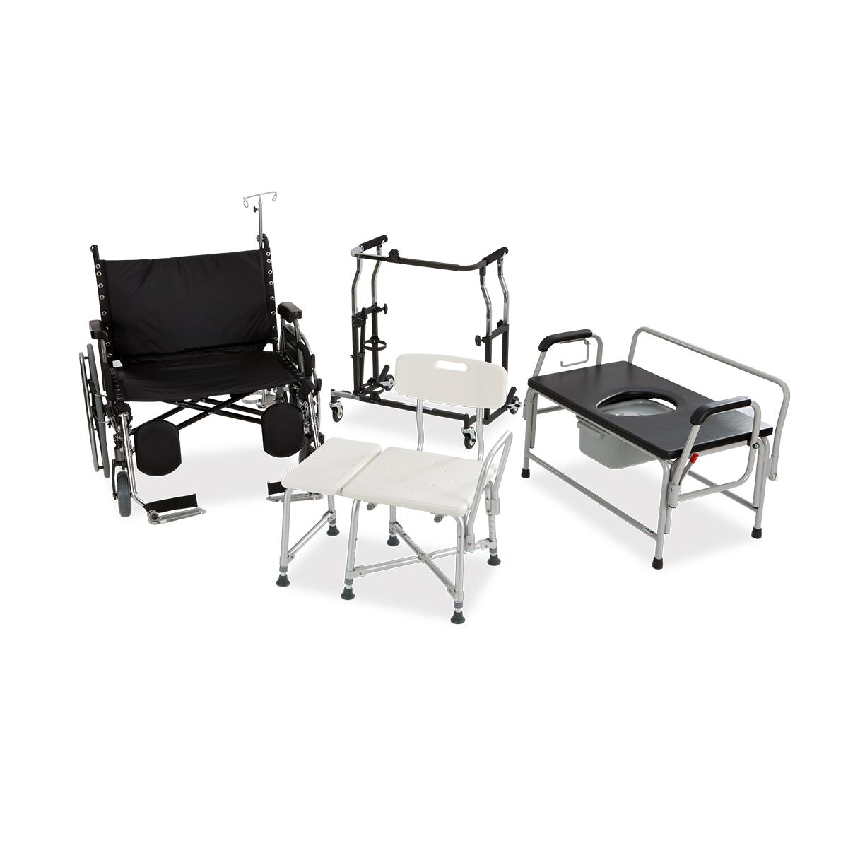 Group of Hillrom™ bariatric accessories including wheelchair, shower bench, commode and walker
