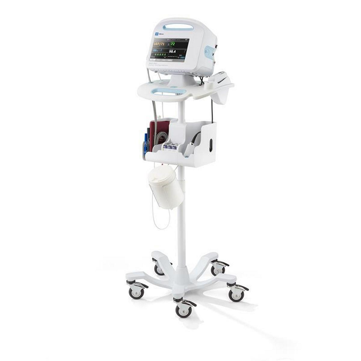 The Welch Allyn® Connex® Vital Signs Monitor facing left on ACM stand with Welch Allyn® Braun® ThermoScan® PRO 6000 Ear Thermometer