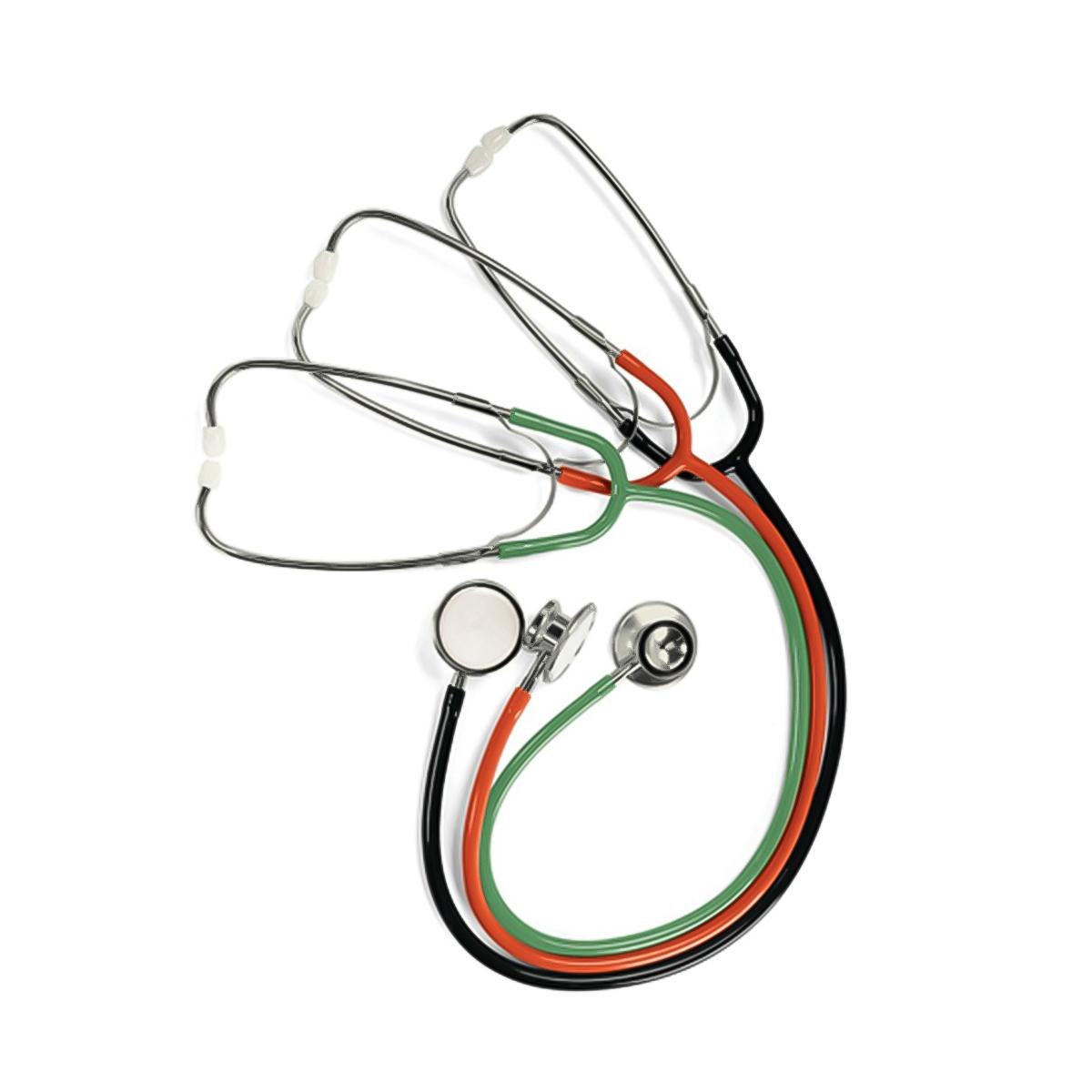 Lightweight Stethoscopes overhead view, set of three in multiple colors