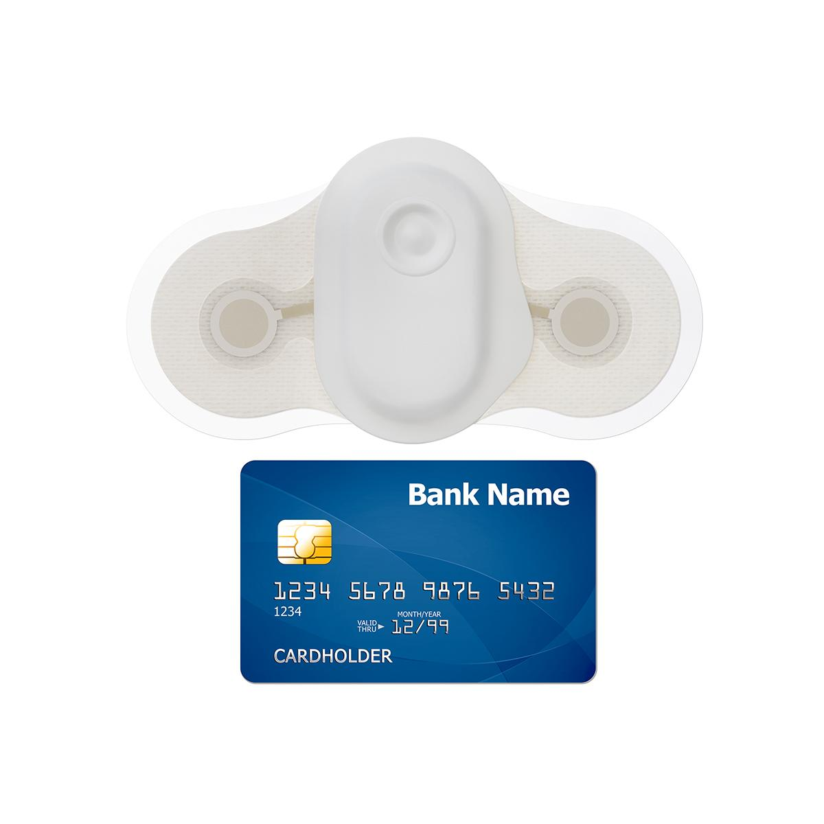 This side-by-side view of the Welch Allyn TAGecg sensor shows that it is comparable in size to a consumer credit card.